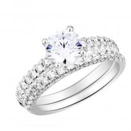 French Set round Diamond Semi Mount Bridal Set