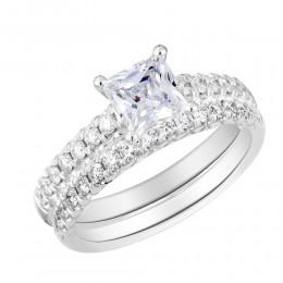 French Set Diamond Semi Mount Bridal Set
