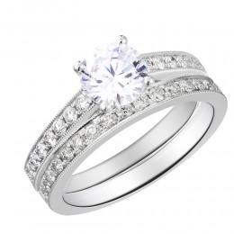 Micro Set Diamond Semi Mount Round Center Bridal Set