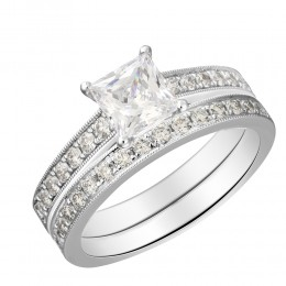 Micro Set Diamond Semi Mount Princess Center Bridal Set