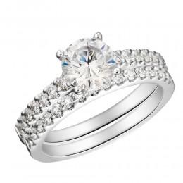 Shared Prong Round Diamond Semi Mount Bridal Set