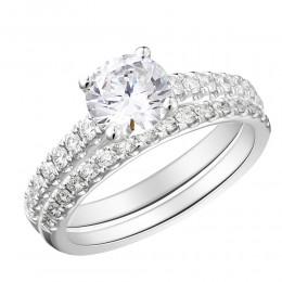 U Set Round Diamond Semi Mount Bridal Set
