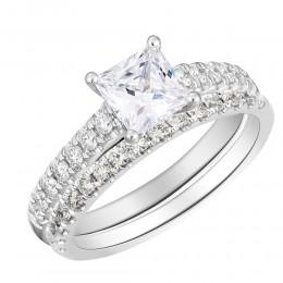 U Set Diamond Semi Mount Princess Center Bridal Set